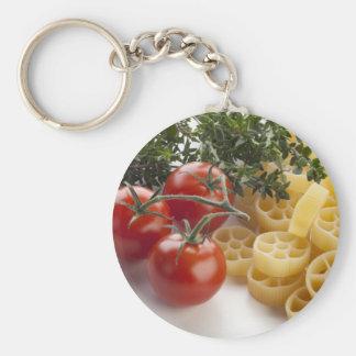 Rotelle pasta och ingredienser Keychain Rund Nyckelring