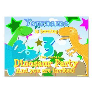 Roterande 3 Dinosaursfödelsedagsfestinbjudan 12,7 X 17,8 Cm Inbjudningskort