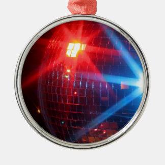 Roterande boll för spegeldisko med laser-ljus rund silverfärgad julgransprydnad
