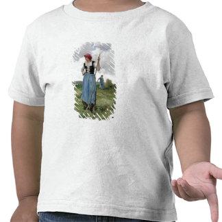 Roterande höet olja på kanfas t-shirt