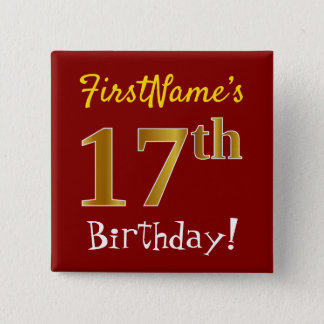 Rött 17th födelsedag för Fauxguld, med Standard Kanpp Fyrkantig 5.1 Cm
