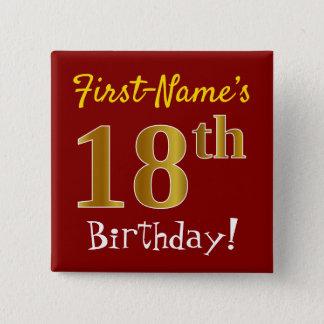 Rött 18th födelsedag för Fauxguld, med Standard Kanpp Fyrkantig 5.1 Cm