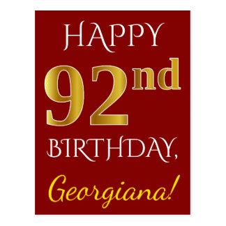 Rött 92nd födelsedag för Fauxguld + Vykort