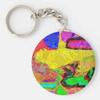 Rött abstrakt mönster för Psychedelic gula blått Rund Nyckelring
