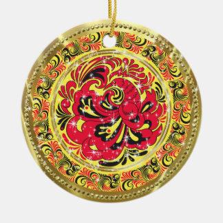Rött abstrakt Phoenix Fågel-Guld & Sparkles Julgransprydnad Keramik