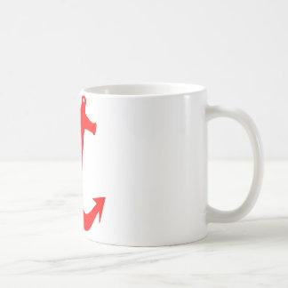 Rött ankra designen vit mugg
