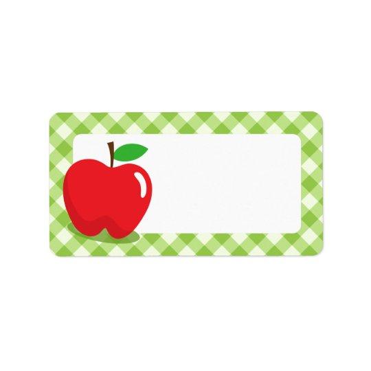 Rött äpple - grön tom ginghammönstergräns adressetikett