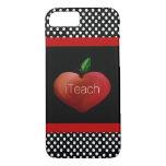 Rött Apple hjärtalärare fodral för iPhone 7