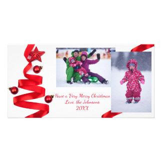 Rött bandträd med foto - julfotokort fotokort