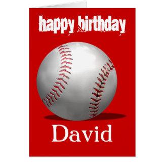 Rött baseballfödelsedagkort hälsningskort