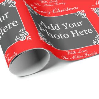 (Rött) beställnings- foto för elegant jul, Presentpapper