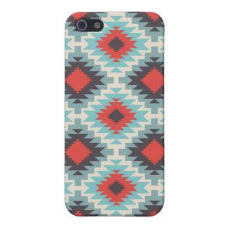 Rött blåttmönster för Aztec stam- indian iPhone 5 Fodral