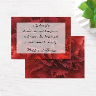 Rött blom- kort för bröllopvälgörenhetfavör