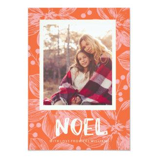 rött blom- noeljulkort 12,7 x 17,8 cm inbjudningskort