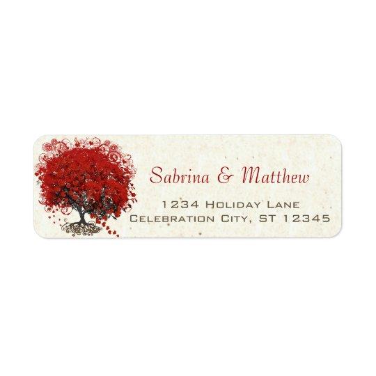 Rött bröllop för hjärtalövträd returadress etikett