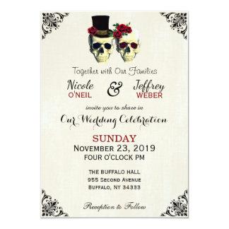 Rött brud- & brudgumskalleGoth lantligt bröllop 12,7 X 17,8 Cm Inbjudningskort