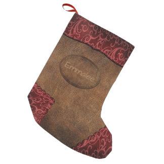 Rött brunt Monogramläder för Faux Liten Julstrumpa