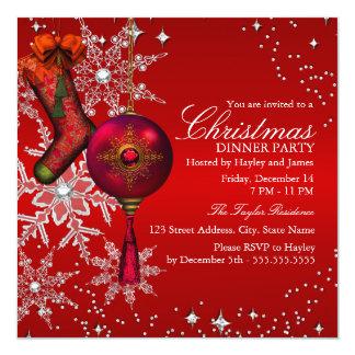 Rött Crystal party 3 för Snowflakejulmiddag Fyrkantigt 13,3 Cm Inbjudningskort