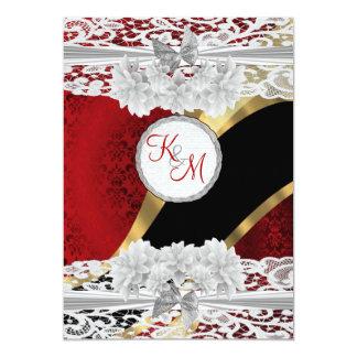 Rött damast- och vitsnöremonogrambröllop 12,7 x 17,8 cm inbjudningskort