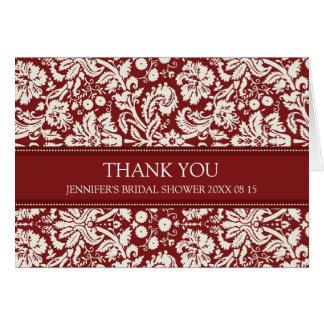 Rött damastast möhippatackkort hälsningskort