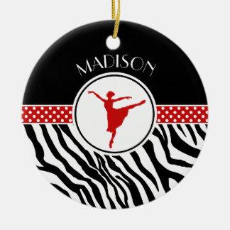 Rött din kända zebra tryckbalettdansör julgransprydnad keramik