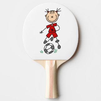 Rött enhetligt för flickastick figurfotboll pingisracket