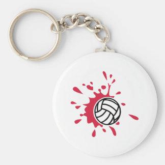 Rött färgstänk för volleyboll rund nyckelring