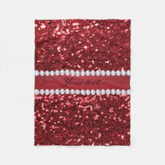 Rött Fauxglitter och diamanter Fleecefilt