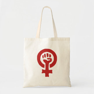 Rött feminismsymbol budget tygkasse