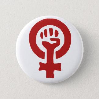 Rött feminismsymbol standard knapp rund 5.7 cm