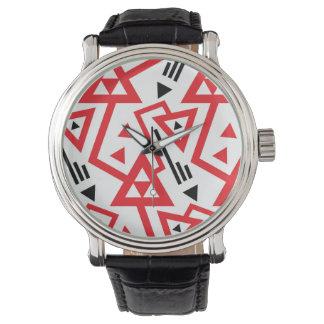 Rött för avantgarde ljust och svart geometriskt armbandsur