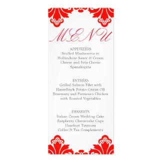 Rött för meny för bröllopmiddag antikt damastast