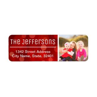 Rött foto för Bokeh bakgrundsanpassningsbar Returadress Etikett
