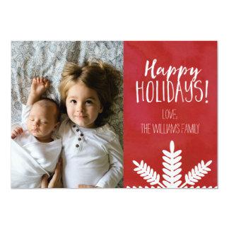Rött fotokort för handskriven glad helg 12,7 x 17,8 cm inbjudningskort