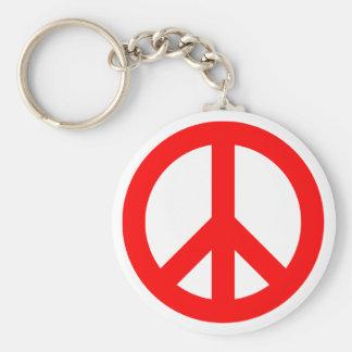 Rött fredsymbol rund nyckelring