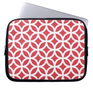 Rött geometriskt för vallmo laptop sleeve