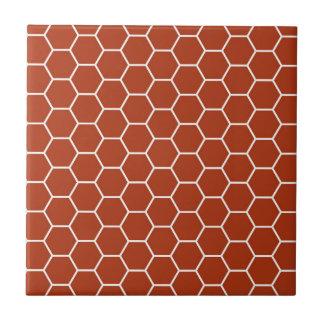 Rött geometriskt honungskakamönster för tegelsten kakelplatta