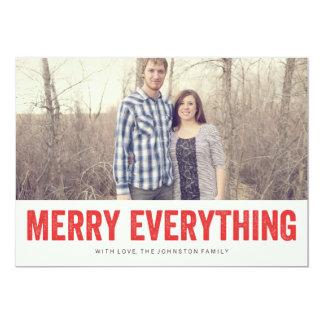 Rött glatt allt kort för julfotolägenhet 12,7 x 17,8 cm inbjudningskort