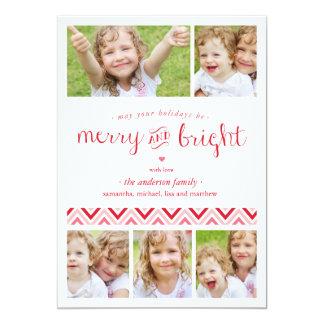 Rött glatt och ljust kort för Collagehelgdagfoto - 12,7 X 17,8 Cm Inbjudningskort