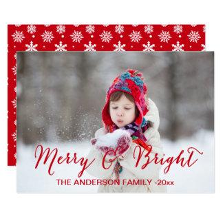 Rött glatt och ljust kort för | helgdagfoto 12,7 x 17,8 cm inbjudningskort