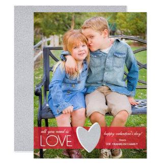 Rött glitterkärlekvalentin kort för foto för dag 10,8 x 14 cm inbjudningskort