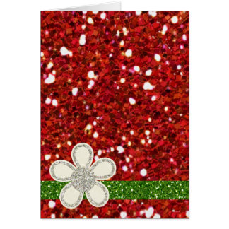 Rött glitterkort för jul hälsningskort