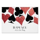 Rött glitterödeLas Vegas bröllop tackar Yo OBS Kort