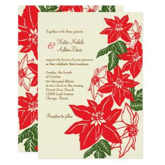 Rött & grönt gifta sig för julstjärnajul 12,7 x 17,8 cm inbjudningskort