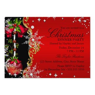 Rött grönt guld- party 5 för Snowflakejulmiddag 12,7 X 17,8 Cm Inbjudningskort