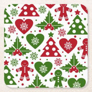 Rött & grönt julgranpepparkaksgubbemönster underlägg papper kvadrat