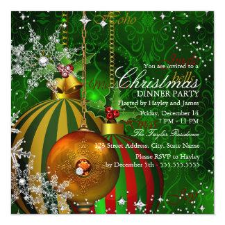 Rött grönt party för Snowflakejulmiddag Fyrkantigt 13,3 Cm Inbjudningskort