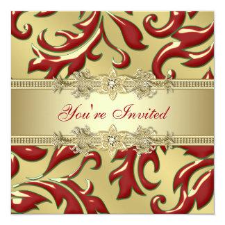 Rött guld- företags julparty för röd bladguld fyrkantigt 13,3 cm inbjudningskort