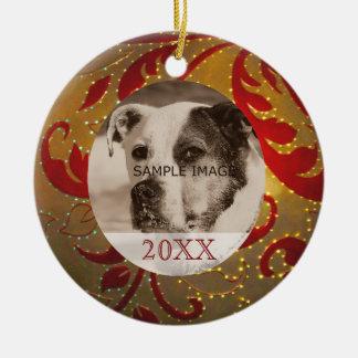 Rött guld- foto för husdjur för julgransprydnad keramik