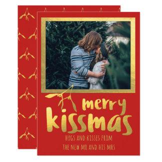 Rött guld- glatt kort för Kissmas helgdagfoto 12,7 X 17,8 Cm Inbjudningskort